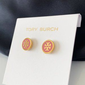 Tory Burch Rose Pink Logo Earrings